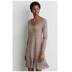 NWOT AEO || Tan Crochet Fringe Knit Sweater Dress